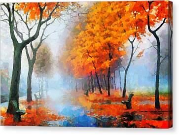Autumn In The Morning Mist Canvas Print by Georgiana Romanovna