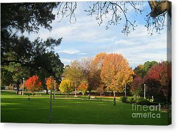 Canvas Print featuring the photograph Autumn In The Park by Leanne Seymour