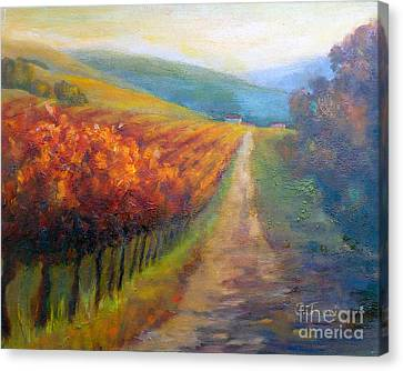 Autumn In The Vineyard Canvas Print by Carolyn Jarvis