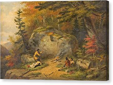 Canvas Print featuring the painting Autumn In West Canada Chippeway Indians by Cornelius Krieghoff