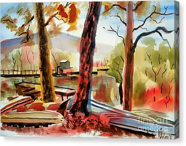 Autumn Jon Boats I Canvas Print