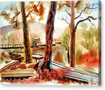 Autumn Jon Boats II Canvas Print