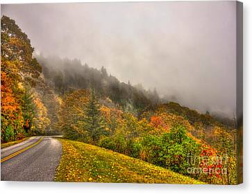Autumn Just Around The Bend Blue Ridge Parkway In Nc Canvas Print