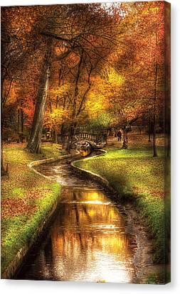 Autumn - Landscape - By A Little Bridge  Canvas Print by Mike Savad