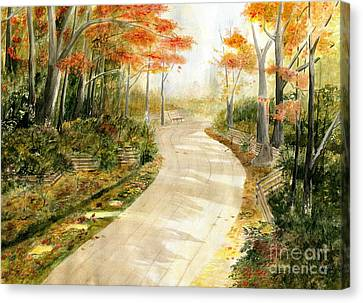 Autumn Lane Canvas Print by Melly Terpening