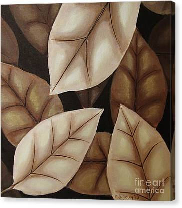 Autumn Leaves In Sepia Canvas Print by Anna Bronwyn Foley