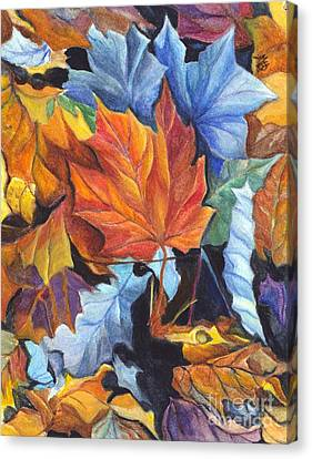 Autumn Leaves Of Red And Gold Canvas Print by Carol Wisniewski