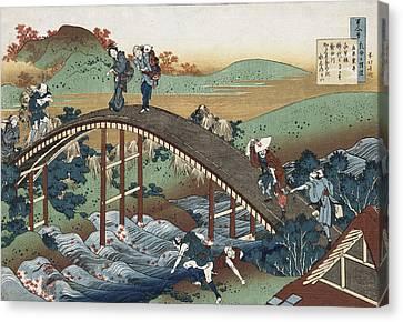 Autumn Leaves On The Tsutaya River Canvas Print by Katsushika Hokusai