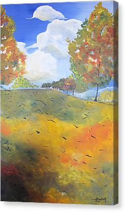 Canvas Print featuring the painting Autumn Leaves Panel 2 Of 2 by Gary Smith