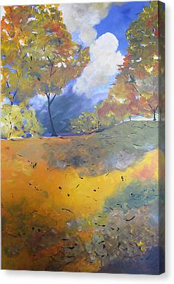 Canvas Print featuring the painting Autumn Leaves Panel1 Of 2 Panels by Gary Smith