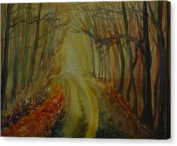 Canvas Print featuring the painting Autumn Light by Anna  Duyunova