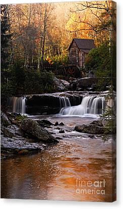 Grist Mill Canvas Print - Autumn Light by Larry Ricker