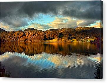 Autumn Light On Lake Grasmere Canvas Print by Adrian Campfield