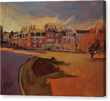Autumn Light Over The Queen Emma Square Maastricht Canvas Print