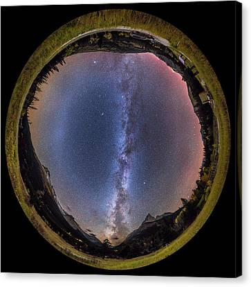 Autumn Milky Way Panorama At Red Rock Canvas Print