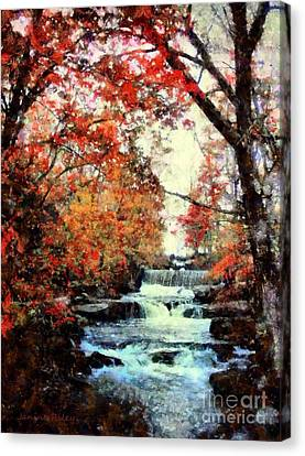 Autumn Mill Falls Canvas Print by Janine Riley