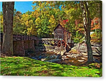 Autumn Mill Impasto Canvas Print by Steve Harrington