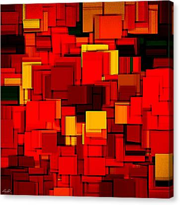 Fiery Red Canvas Print - Autumn Modern Abstract Xv by Lourry Legarde