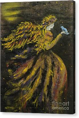 Autumn Moon Angel Canvas Print by Carla Carson