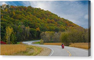 Autumn Motorcycle Rider / Orange Canvas Print