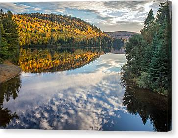 Autumn Mountain Reflection In La Mauricie Quebec Canvas Print by Pierre Leclerc Photography