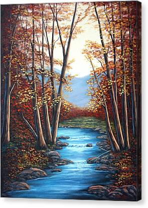 Autumn Mountain Stream  Canvas Print by Fran Brooks