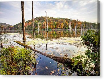 Autumn On Monksville Reservoir - Long Pond Ironworks Canvas Print by Gary Heller