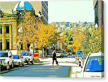 Autumn On Mount Royal Greene Avenue Westmount Near Sherbrooke October Montreal City Scene Canvas Print by Carole Spandau