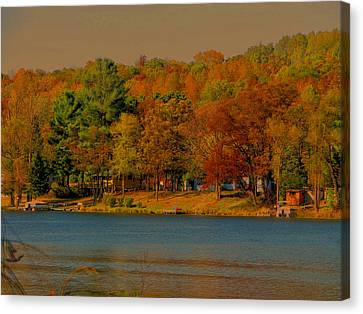 Autumn On Mt Noris Lake Canvas Print by Victoria Sheldon