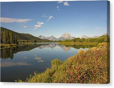 Autumn On Oxbow Bend - Mount Moran - Grand Teton National Park Wyoming Canvas Print by Brian Harig