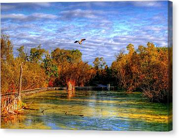 Autumn On The Boardwalk Canvas Print by Larry Trupp