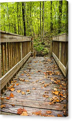 Autumn On The Bridge Canvas Print