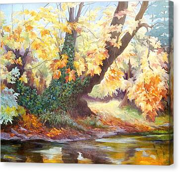 Autumn On The Darent Canvas Print by Cristiana Angelini