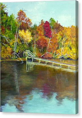 Canvas Print featuring the painting Autumn On The James by Sandra Nardone