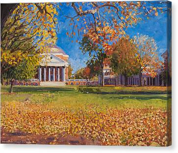 Thomas Jefferson Canvas Print - Autumn On The Lawn by Edward Thomas