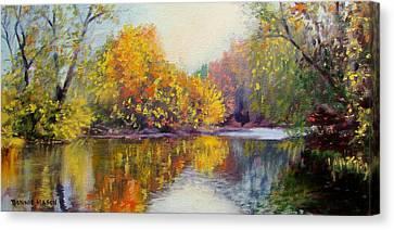 Autumn On The River Canvas Print by Bonnie Mason