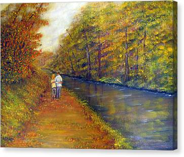 Autumn On The Towpath Canvas Print
