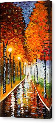 Autumn Park Night Lights Palette Knife Canvas Print by Georgeta  Blanaru