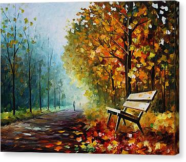 Autumn Park - Palette Knife Oil Painting On Canvas By Leonid Afremov Canvas Print by Leonid Afremov