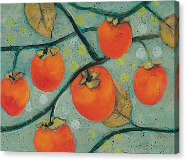 Autumn Persimmons Canvas Print by Jen Norton