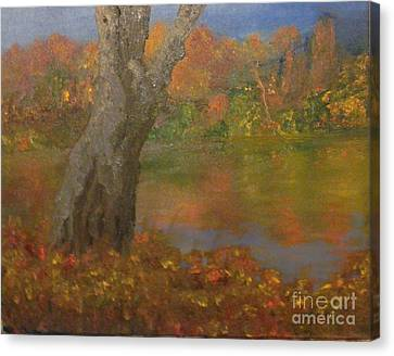 Canvas Print featuring the painting Autumn Pond by Holly Martinson