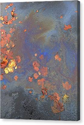 Autumn Puddle Canvas Print by John Norman Stewart