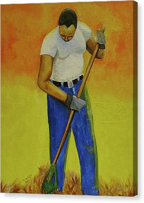 Canvas Print featuring the painting Autumn Raking by Thomas J Herring