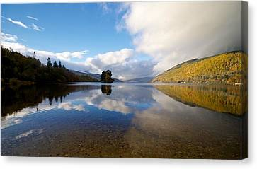 Canvas Print featuring the photograph Autumn Reflections On Loch Tay by Stephen Taylor