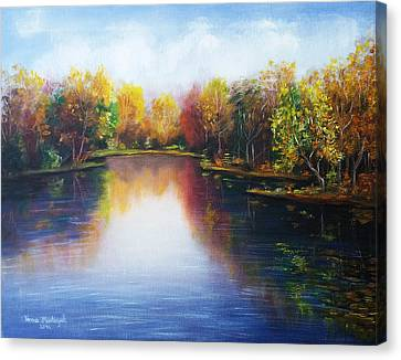 Canvas Print featuring the painting Autumn Reflections  by Vesna Martinjak