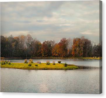 Autumn Rising At The Duck Pond - Autumn Scene Canvas Print by Jai Johnson