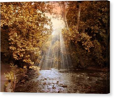 Canvas Print featuring the photograph Autumn River Light by Jessica Jenney