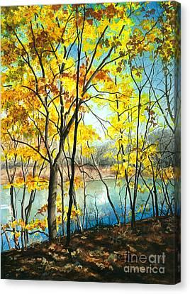 Autumn River Walk Canvas Print