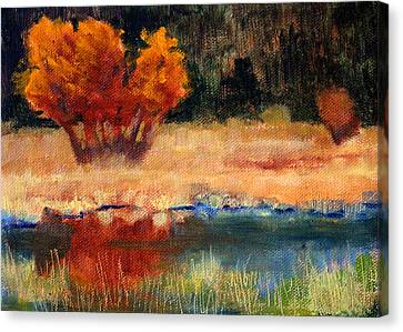 Wa Canvas Print - Autumn Riverbank by Nancy Merkle