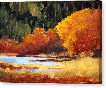 Wa Canvas Print - Autumn Riverside by Nancy Merkle